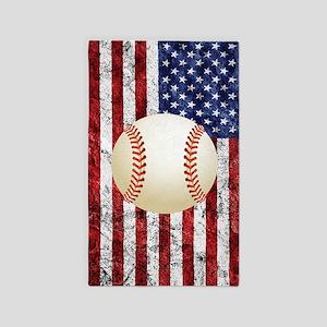 Baseball Ball On American Flag Area Rug