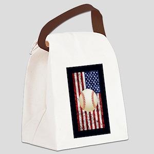 Baseball Ball On American Flag Canvas Lunch Bag