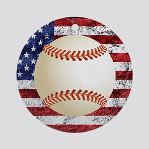 Baseball Ball On American Flag Ornament (Round)
