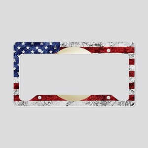 Baseball Ball On American Flag License Plate Holde