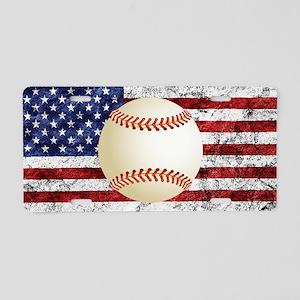 Baseball Ball On American Flag Aluminum License Pl