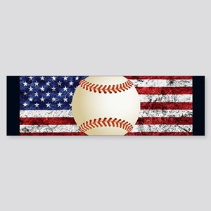 Baseball Ball On American Flag Bumper Sticker