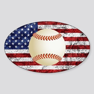 Baseball Ball On American Flag Sticker