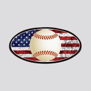 Baseball Ball On American Flag Patch