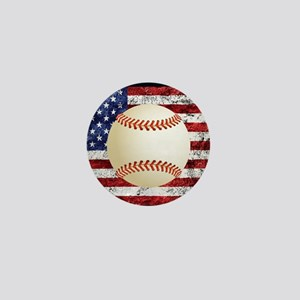Baseball Ball On American Flag Mini Button