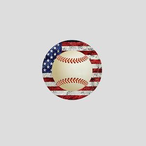Baseball Ball On American Flag Mini Button