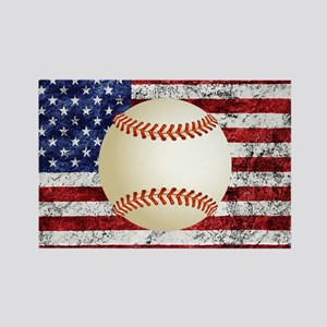 Baseball Ball On American Flag Magnets