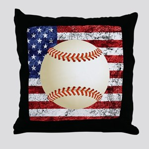 Baseball Ball On American Flag Throw Pillow