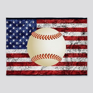 Baseball Ball On American Flag 5'x7'Area Rug