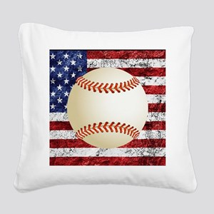Baseball Ball On American Flag Square Canvas Pillo