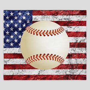 Baseball Ball On American Flag King Duvet