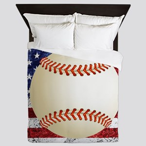 Baseball Ball On American Flag Queen Duvet