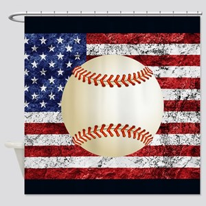 Baseball Ball On American Flag Shower Curtain