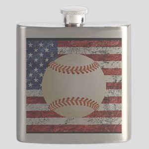 Baseball Ball On American Flag Flask