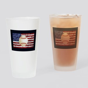 Baseball Ball On American Flag Drinking Glass