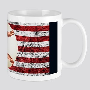 Baseball Ball On American Flag Mugs