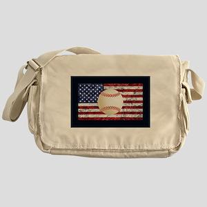 Baseball Ball On American Flag Messenger Bag