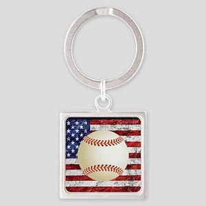 Baseball Ball On American Flag Keychains