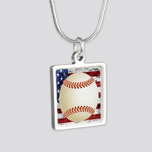 Baseball Ball On American Flag Necklaces