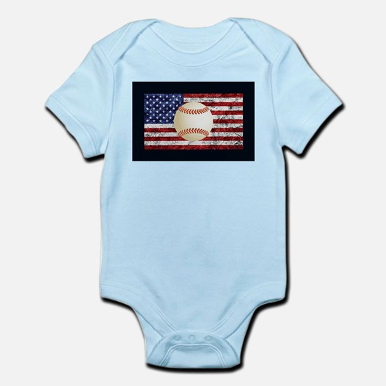 Baseball Ball On American Flag Body Suit