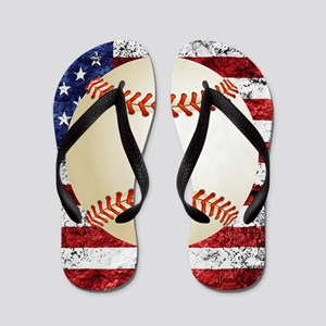 7f6a3ed839d826 Baseball Player Swinging Silhouette Bat Ball Flip Flops - CafePress