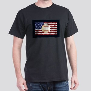 Baseball Ball On American Flag T-Shirt