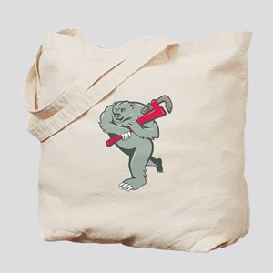 Grizzly Bear Plumber Monkey Wrench Cartoon Tote Ba