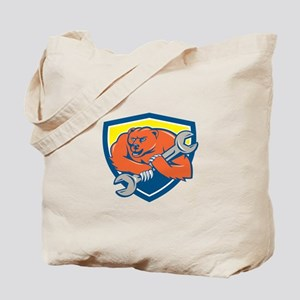 Grizzly Bear Mechanic Spanner Shield Cartoon Tote