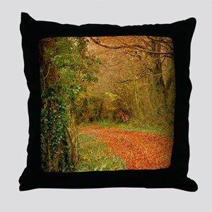 Red Fox on the Golden Path Throw Pillow