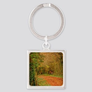 Red Fox on the Golden Path Square Keychain