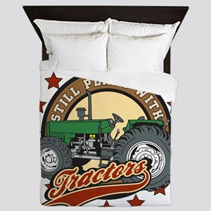 Still Plays with Tractors Green Queen Duvet