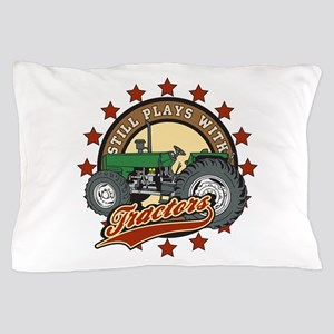 Still Plays with Tractors Green Pillow Case
