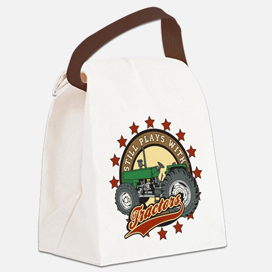 Still Plays with Tractors Green Canvas Lunch Bag