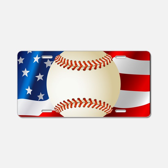 Baseball Ball On American Flag Aluminum License Pl