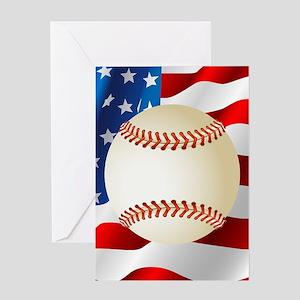 Baseball Ball On American Flag Greeting Cards