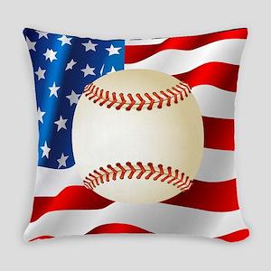 Baseball Ball On American Flag Everyday Pillow