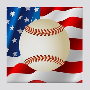 Baseball Ball On American Flag Tile Coaster