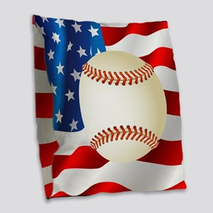 Baseball Ball On American Flag Burlap Throw Pillow