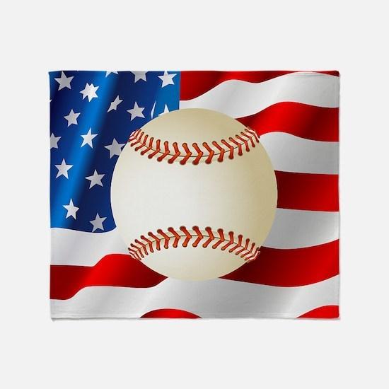 Baseball Ball On American Flag Throw Blanket
