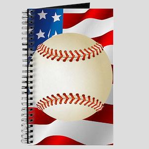 Baseball Ball On American Flag Journal