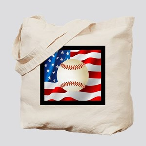Baseball Ball On American Flag Tote Bag