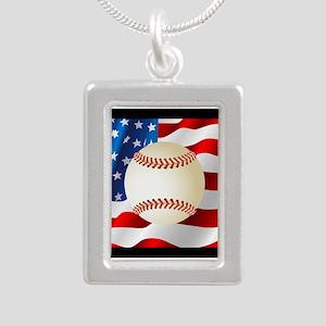 Baseball Ball On American Flag Necklaces
