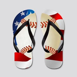Baseball Ball On American Flag Flip Flops