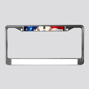 Baseball Ball On American Flag License Plate Frame