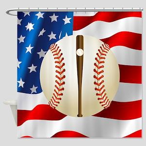 Baseball Ball On American Flag Shower Curtain