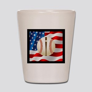 Baseball Ball On American Flag Shot Glass