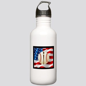 Baseball Ball On American Flag Water Bottle