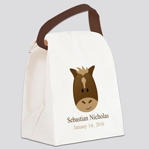 CUSTOM Horse w/Name Birthdate Canvas Lunch Bag