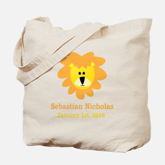 CUSTOM Lion w/Baby Name and Birth Date Tote Bag