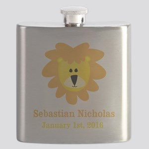 CUSTOM Lion w/Baby Name and Birth Date Flask